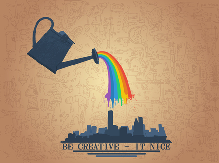extraordinary: large watering can watering the rainbow on city Illustration
