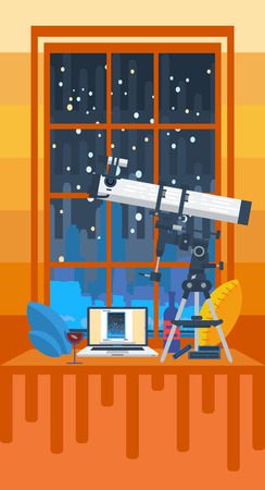 windowsill: cozy evening in front of the window with a telescope Illustration