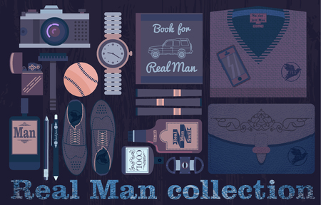 baseball stuff: Real man collection flat purple objects with a camera