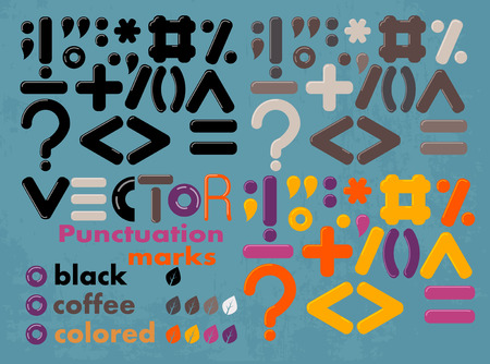 punctuation: set of vector colored and black punctuation marks