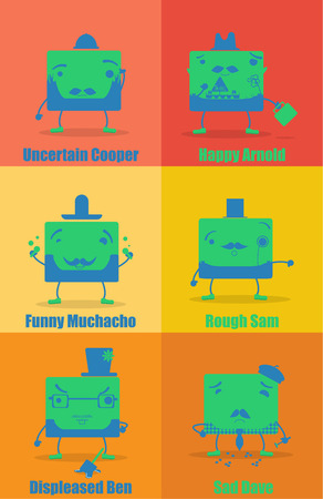 unsure: set of six funny green characters on red, yellow and orange background