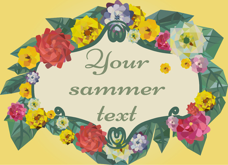 buttercups: floral summer frame template with geometric flowers and leaves