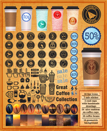 great coffee: Great coffee collection with cups coffee and icons on an orange background