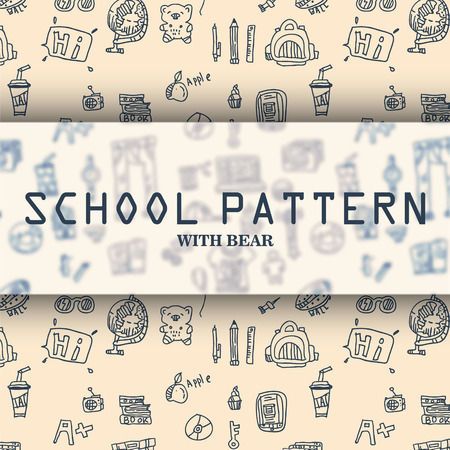 school beige pattern with bear and other hand drawn drawings
