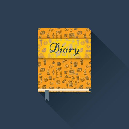 Flat diary with a pattern on a dark background with long shadow Ilustração