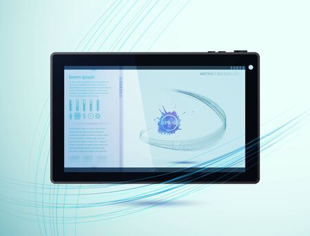 Website template with an abstract background with blots on a tablet