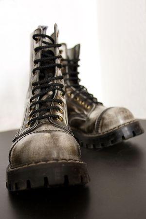 Gray aggressive urban boots photo