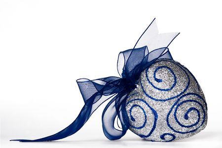 Sparkling decorative heart with blue bow Stock Photo - 2210449