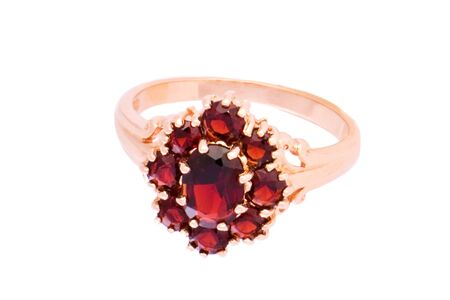 garnets: Closeup of the ring with garnets on white background Stock Photo