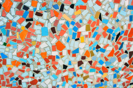 Colorful abstract ceramic mosaic close up
