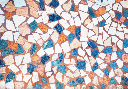 Closeup of neutral coloured beige and turquoise abstract mosaic ceramic tiles patterned background Stock fotó