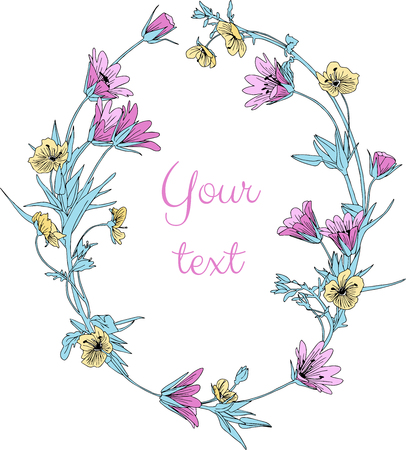 Elegant decorative hand drawn vector flower wreath isolated on white. Herbal line art graphic design element for invitations, greeting cards, quotes, blogs, posters, wedding frames, cosmetic