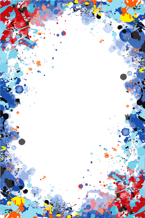 Vector colorful splattered frame for flyers, posters, invitations, cards Çizim