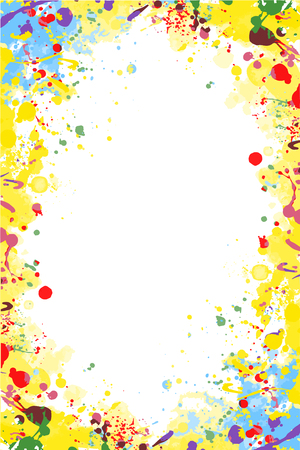 Yellow and blue isolated vector colorful splattered frame for flyers, posters, invitations Vetores