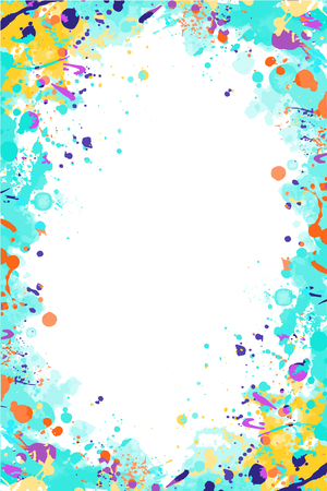 Vector colorful turquoise and yellow splattered frame for flyers, posters, invitations