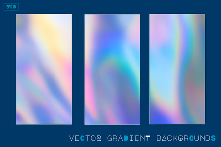 Abstract Modern pastel colored holographic vector gradient backgrounds in 80s style. Synthwave. Vaporwave style. Retrowave, retro futurism, webpunk. Modern screen design for mobile app