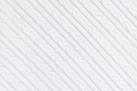 Knitwear Fabric Texture with Pigtails and stripes. Repeating Machine Knitting Texture of Sweater. White Knitted Background. Diagonal composition.