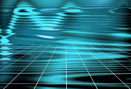 Abstract mint colored Waves Holographic background. Composition of perspective grid lines and light-spots. Synthwave. Vaporwave style. Retrowave, retro futurism Stock Photo