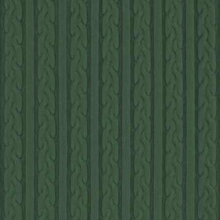 Knitwear Fabric Texture with Pigtails and stripes. Repeating Machine Knitting Texture of Sweater. Dark green Knitted Background.