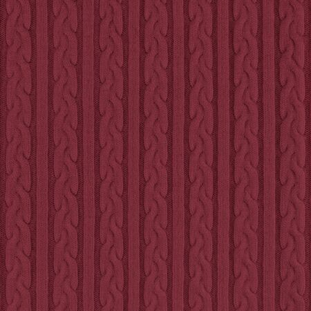 Knitwear Fabric Texture with Pigtails and stripes. Repeating Machine Knitting Texture of Sweater. Dark red Knitted Background.