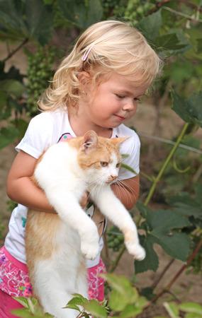 Cute little girl holding a red cat Zdjęcie Seryjne