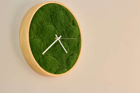 Photo clock on the wall, round wooden clock, dial made of green decorative grass.