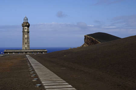 Capelinhos Lighthouse, Faial Island,Azores Stock Photo