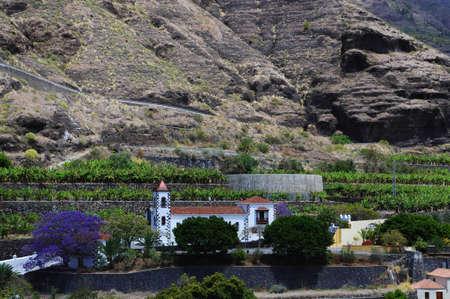 The small church in the banana valley  La Palma  Canary Island photo