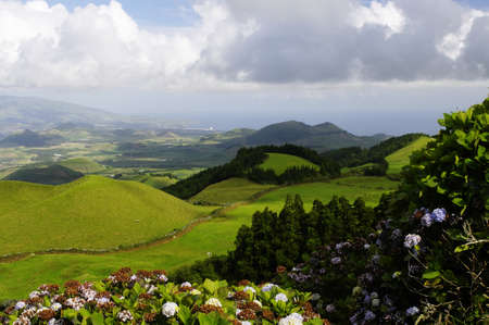 The lush green volcanic hills of Sao Miguel island, Azores, Portugal photo