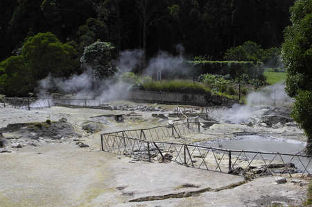 The hot mud near the lake Furnas Stock Photo
