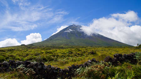 raod: Interior of the Pico island  View on the highest mountain of Portugal, Azores