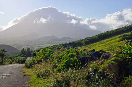 View on the highest mountain of Portugal in the late afternoon, Azores