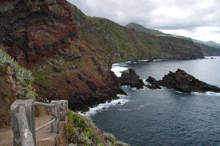 Path over the abyss to Playas Negales, La Palma, Canary Island photo