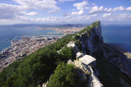 Panorama view from the Rock of Gibraltar Stock Photo