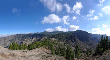 Panoramic view of the mountain massif of Pico de las Nieves and Roque Nublo, Gran Canaria Stock Photo