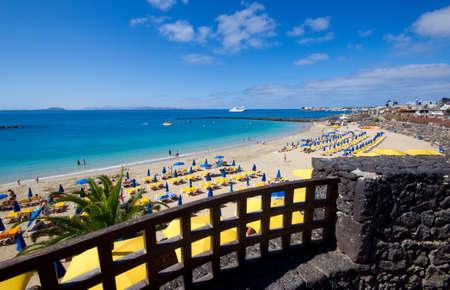lanzarote: Het Playa Blanca strand van Lanzarote eiland Stockfoto