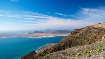 mirador: La Graciosa island view from the Mirador del Rio, Lanzarote, Canary Islands