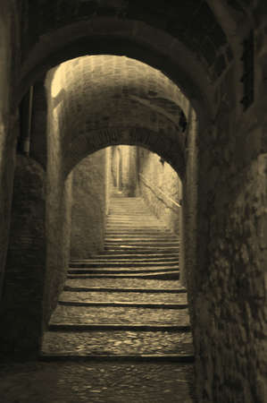 The street at Medieval Girona in old style, Catalonia, Spain
