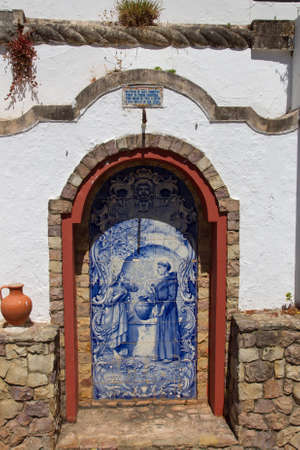 alte: Small altar made   of Azulejos in the Alte - famous village in the Algarve, Portugal