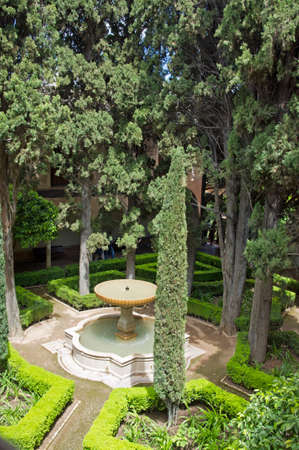The view on the garden of Alhambra palace, Granada city, Andalucia, Spain photo
