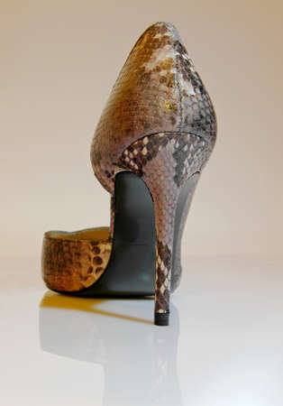 Close up of a high heels made of  snake  peel photo