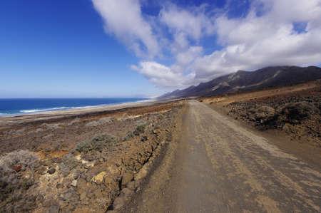 raod: A raod to Playa de Cofete, Fuerteventura. Stock Photo