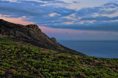 The volcanic landscape in the evening around Teneguia  La Palma, Canary island, Spain  photo