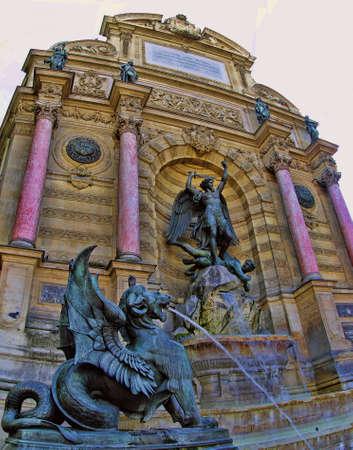 PARIS, FRANCE - JULY 2. The Chimera statue at Fontaine Saint Michel on July 2, 2014, Paris, France.