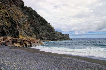 vallehermoso: The road to Castillo Del Mar destroyed by landslide, La Gomera, Canary, Spain Stock Photo
