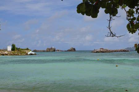 digue: The Severe beach at La Digue island, Seychelles Stock Photo