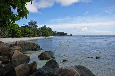 severe: The Severe beach at La Digue island, Seychelles Stock Photo