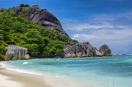 tarzan: Anse Source dArgent beach, La Digue island, Seyshelles