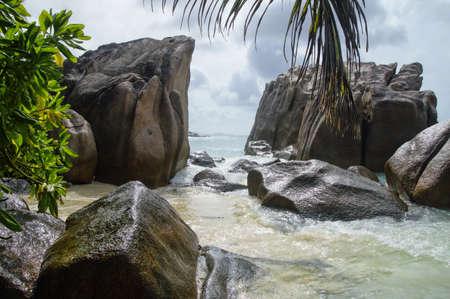digue: Anse Patates beach, La Digue island, Seychelles