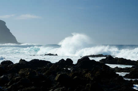 furlough: Rocky beach with huge ocean waves on beach of Costadel Buenavista, Tenerife, Canary, Spain